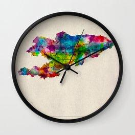 Kyrgyzstan Map in Watercolor Wall Clock