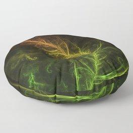 Fractal Hybrid of Guzmania Tuti Fruitti and Ferns Floor Pillow