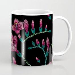 Embroidered Flowers on Black Pattern 07 Coffee Mug