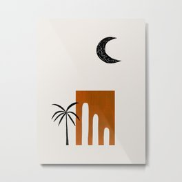 Golden Brown Minimalist Mid Century Ancient Minimal Ruin Architecture Moon Lit Palm Trees Ejaaz Haniff Metal Print