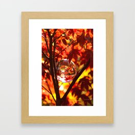 Red autumn foliage in the world of a globe Framed Art Print