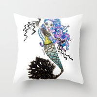 monster high Throw Pillows featuring Sirena Von Boo - Monster High by Amana HB