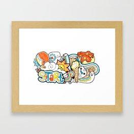 Kawaii Doodle - Just Start Framed Art Print