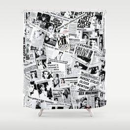 Olivia Newton-John - 40 years of Newspaper Headlines Collage Shower Curtain