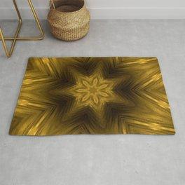 Golden Amber Metalic Abstract Star #Kaleidoscope Rug