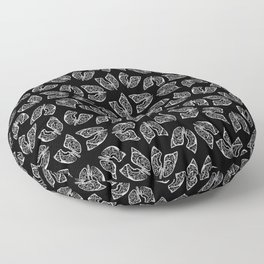 Lungs - White on Black Floor Pillow