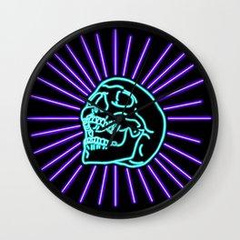 Blue Laughing Skull Wall Clock
