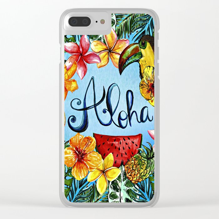 Aloha - Tropical Flower Food and Animal Summer Design on #Society6 Clear iPhone Case