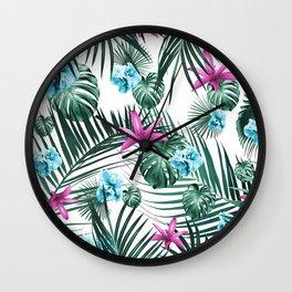 Tropical Flowers & Leaves Paradise #3 #tropical #decor #art #society6 Wall Clock