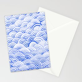 Watercolor Waves - China Blue Stationery Cards