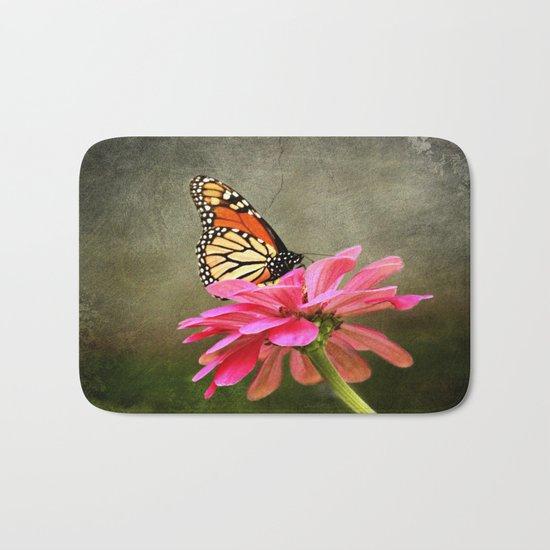 Monarch Butterfly and Pink Zinnia Bath Mat
