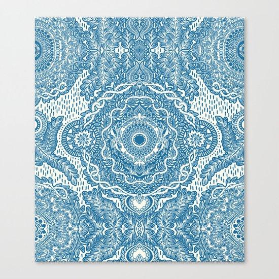 Rain in the Garden - blue and cream Canvas Print