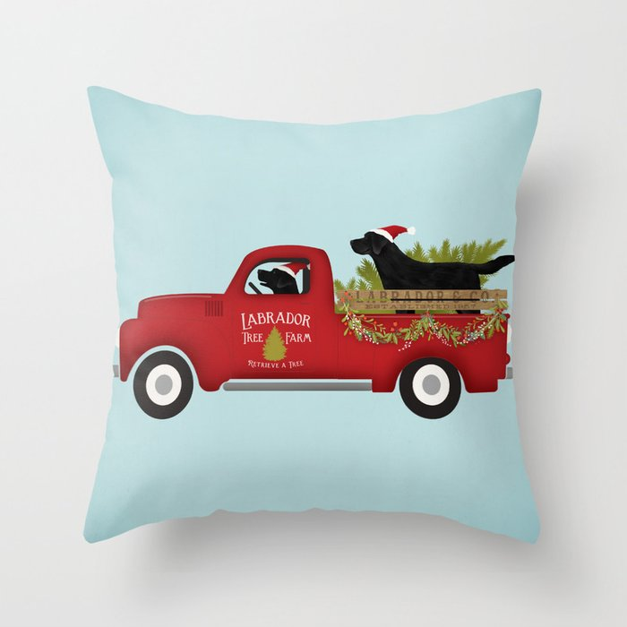 Vintage Red Truck Christmas Decor.Black Lab Dog Labrador Christmas Tree Farm Vintage Red Truck Throw Pillow By Geministudio