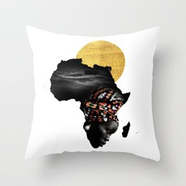 Africa Map Afrocentric Black Woman Portrait Throw Pillow