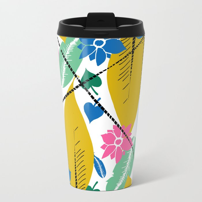 Feathers and leafs Metal Travel Mug