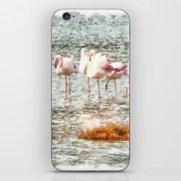 Six Flamingos A Wading Watercolor iPhone Skin