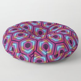 Neon Hexagon Pattern Floor Pillow