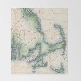 Vintage map of the Massachusetts Coastline Throw Blanket