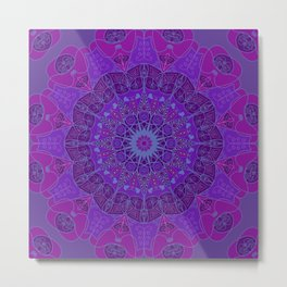 Mandala art drawing design purple fuchsia periwinkle Metal Print
