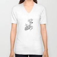 clockwork V-neck T-shirts featuring clockwork deer by vasodelirium