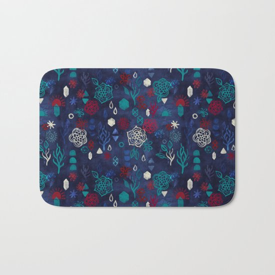 Elements - a watercolor pattern in red, cream & navy blue Bath Mat