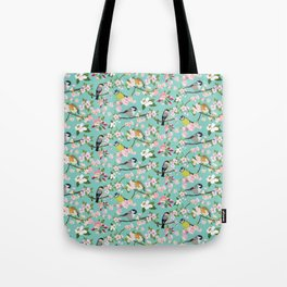 Blossom and Birds Turquoise Print Tote Bag