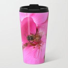 Pink geranium and bee Travel Mug