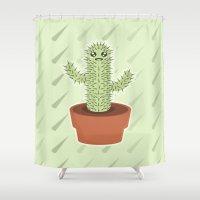 kawaii Shower Curtains featuring Kawaii Cactus by Nir P