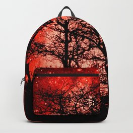 black trees red space Backpack