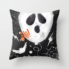 Halloween balloons ghost Throw Pillow
