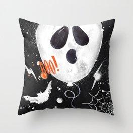 Halloween balloons ghost Throw Pillow