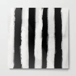 Form Brush Stripe Wide White on Black Metal Print