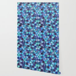 Colorful Teal & Blue Watercolor & Glitter Mermaid Scales Wallpaper