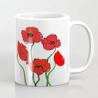 poppy Mugs featuring Poppy  by Armine Nersisian