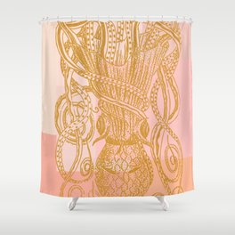 Octopus in Pink and Gold Shower Curtain