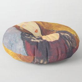 Jeanne Hebuterne woman portrait by Amedeo Modigliani Floor Pillow