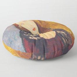 Jeanne Hebuterne woman portrait by Amedeo Modigliani Floor Pillow