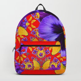 RED PURPLE PANSIES & GOLD  BUTTERFLIES KALEIDOSCOPE ART Backpack