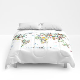 Animal Map of the World for children and kids Comforters