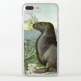 Sea lions vintage illustration Clear iPhone Case
