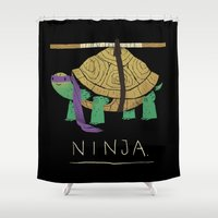 ninja turtle Shower Curtains featuring ninja - purple by Louis Roskosch