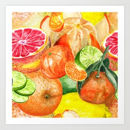 Pattern with citruses Art Print