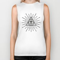 all seeing eye Biker Tanks featuring All seeing eye by Zak Rutledge