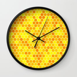 Gold and yellow honeycomb pattern Wall Clock