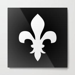 Fleur de Lis (White & Black) Metal Print