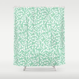 Shoes White on Mint Shower Curtain