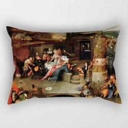 "Hieronymus Bosch ""Temptation of Saint Anthony"" (Antiga) 1 central panel Rectangular Pillow"