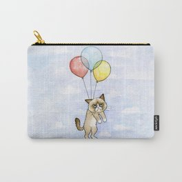Cat With Balloons Grumpy Birthday Meme Carry-All Pouch