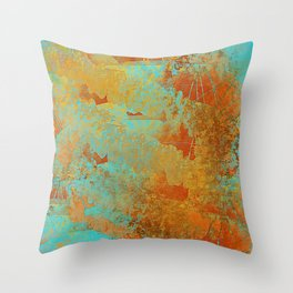 Turquoise and Copper-Red Throw Pillow