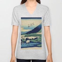 Hokusai -36 views of the Fuji  14 Umezawa in Sagami province Unisex V-Neck